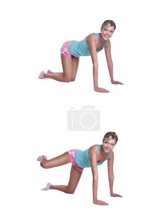 Young woman doing exercises for buttocks