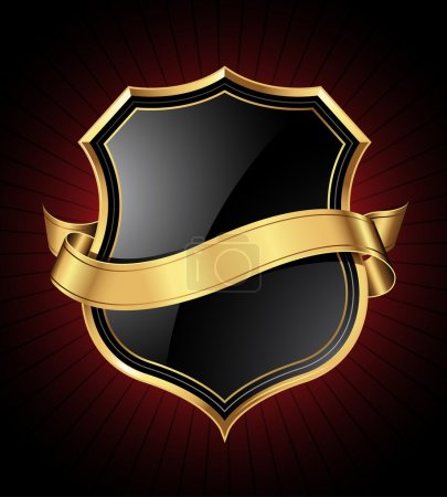 Illustration for Black shield with a golden frame and a gold ribbon for your message - Royalty Free Image