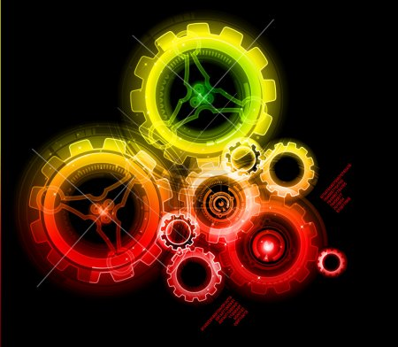 Illustration for Glowing techno gears, colorful detailed vector - Royalty Free Image