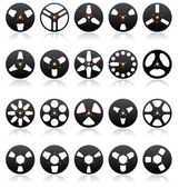 Analog Stereo Tape Reels Icon set detailed vector