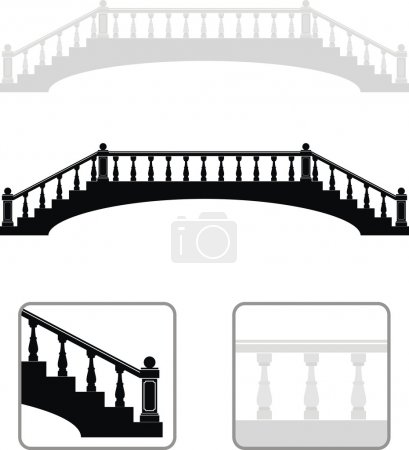 Set of ancient arch stone bridge black and gray silhouettes - isolated illustration on white background