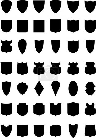 Set of heraldic shields silhouettes. Armorial symbols. Isolated illustration on white background