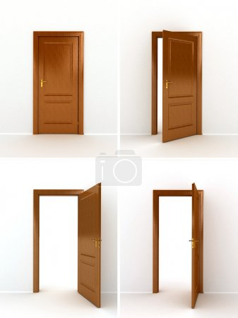 Wooden door over white background