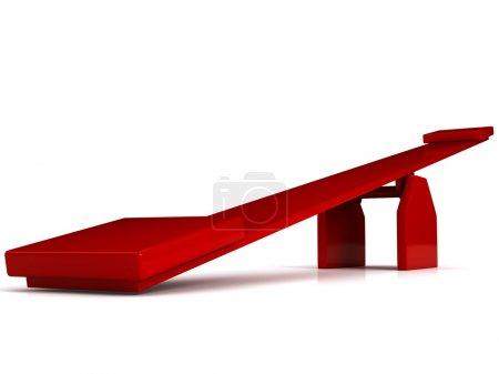 Photo pour Balançoire rouge sur fond blanc. image de synthèse 3D - image libre de droit