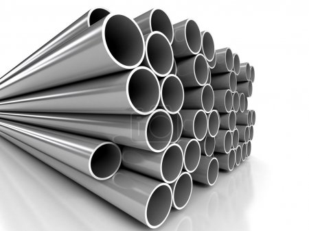 Metal tubes over white background