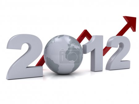 Photo for New Year 2012 concept over white. 3d rendered image - Royalty Free Image