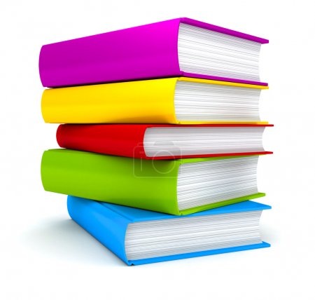Stack of Books on white background . 3d render...