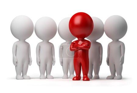 Photo pour Personne petit 3D le leader d'une équipe allouée avec la couleur rouge. image 3D. fond blanc isolé. - image libre de droit
