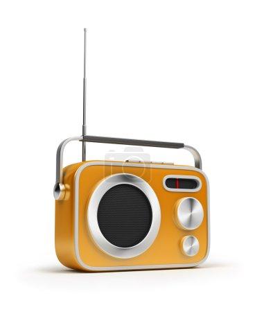 Photo pour Rétro de radio de couleur jaune. Image 3D. Fond blanc isolé . - image libre de droit
