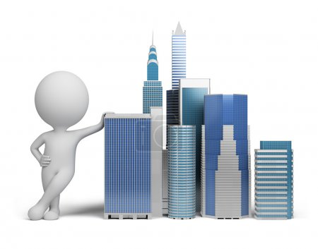 Photo for 3d small person standing next to skyscrapers. 3d image. Isolated white background. - Royalty Free Image