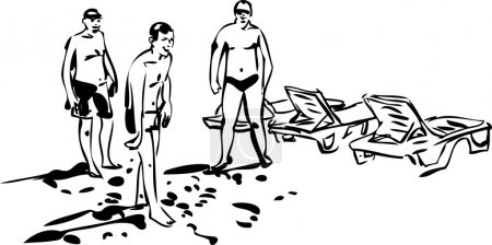 Black and white sketch of young men who spend time at the beach
