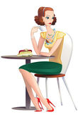 A pretty young woman drinking tea at a table in a cafe