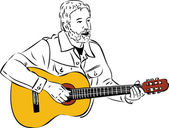A sketch of a man with a beard playing a guitar