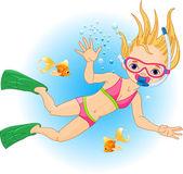 Girl swimming under water
