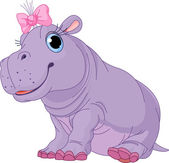 Illustration of cute baby Hippo girl
