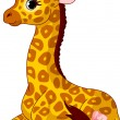 Illustration of little cute giraffe Calf with bow...