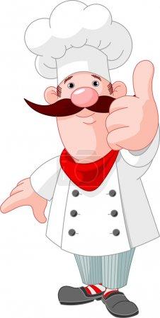 Illustration pour Illustration du chef cuisinier donnant pouces vers le haut - image libre de droit