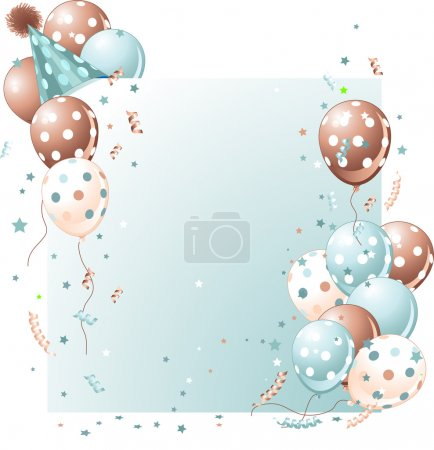 Illustration for Blue birthday card with balloons, hat and plenty of copy space. - Royalty Free Image