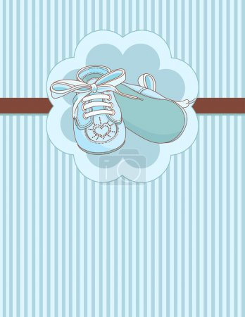 Blue baby shoes place card