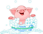 Piglet taking a bath