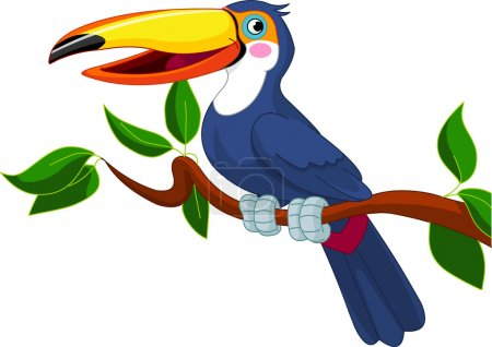 Illustration for Illustration of toucan sitting on tree branch - Royalty Free Image