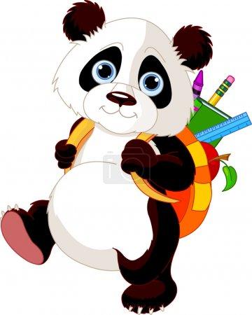 Photo pour Panda mignon sur le chemin de l'école - image libre de droit