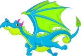 Illustration of Cute Cartoon dragon flaying