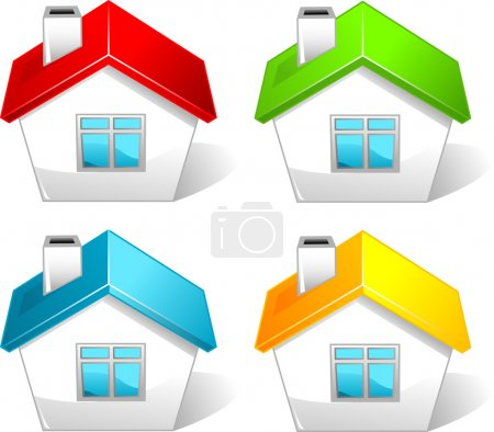 Illustration for Set of colored house icons - Royalty Free Image