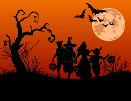 Illustration for Halloween background with silhouettes of children trick or treating in Halloween costume - Royalty Free Image