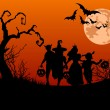Halloween background with silhouettes of children ...