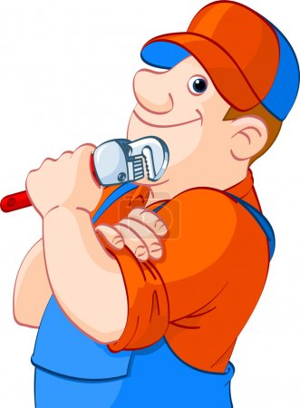 Illustration for Cartoon illustration of a plumber holding a spanner - Royalty Free Image
