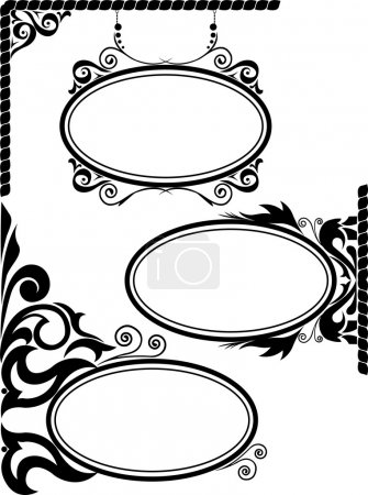 Illustration for Set of three black silhouettes of oval frames - Royalty Free Image