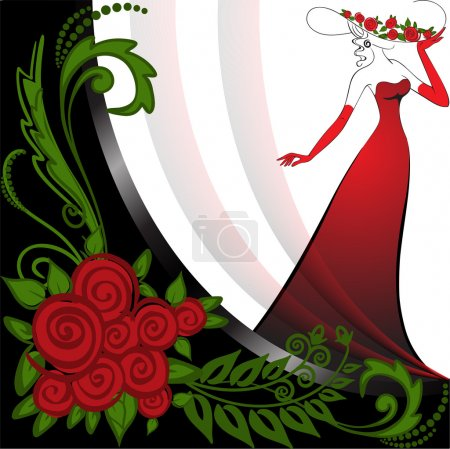Woman in red and roses