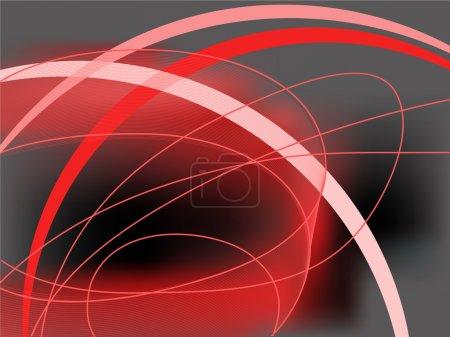 Illustration pour Fond noir et rouge abstrait avec lignes courbes - image libre de droit