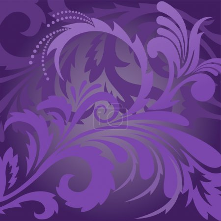 Illustration for Abstract violet background with floral ornaments - Royalty Free Image