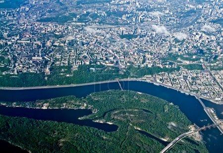 Вид сверху на город Киев