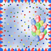 Světlé barevné pozadí s balónky a konfety