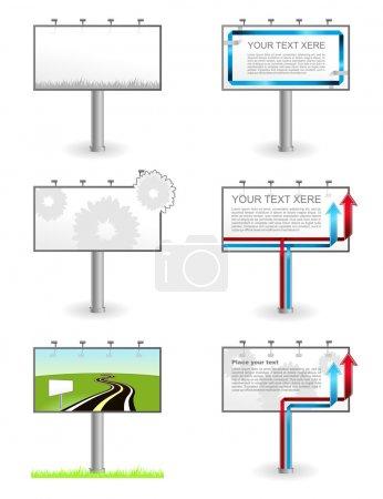 Illustration pour Publicité vectorielle Panneaux d'affichage vierges extérieurs isolés - image libre de droit