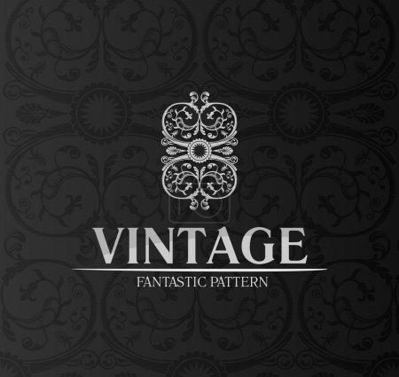 Illustration for Vintage decor label ornament background emblem. vector black - Royalty Free Image