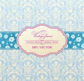 Invitation vintage label flower frame blue