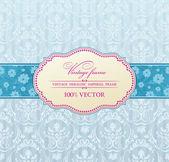 Background vector invitation vintage label flower frame blue