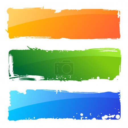 Grunge colour hand banners. Brush abstract background and paint