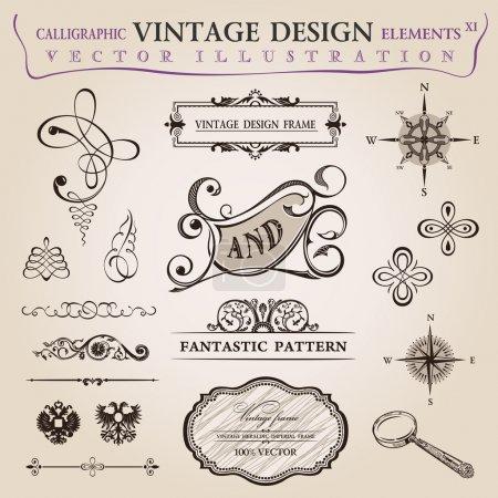 Photo pour Calligraphique vieux éléments décor vintage. ornement cadre vectoriel - image libre de droit