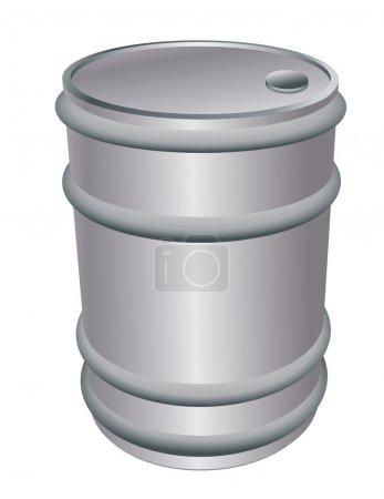 Metallic barrel isolated on white...