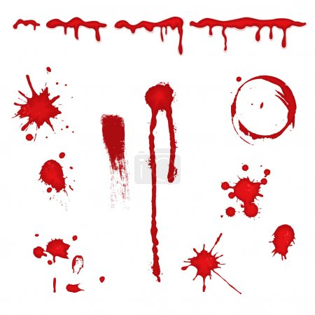 Set of different blood drops, splatter and trail. ...
