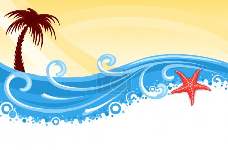 Illustration for Tropical beach with palm tree, star fish and blue ocean - summer banner. Vector illustration saved as EPS AI8, elements layered, no effects. - Royalty Free Image