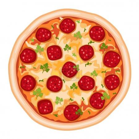 Illustration pour Savoureux salami à pizza. Isolé sur fond blanc. Fichier vectoriel enregistré en EPS AI8, tous les éléments groupés, pas d'effets, pas de dégradés, impression facile . - image libre de droit