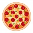 Tasty pizza salami. Isolated over white background. Vector file saved as EPS AI8, all elements grouped, no effects, no gradients, easy print.