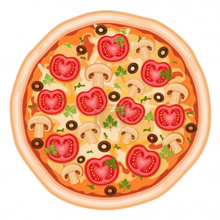 Illustration pour Savoureux et sain - pizza Margherita aux tomates, champignons et olives. Isolé sur fond blanc. Fichier vectoriel enregistré sous EPS AI8, tous les éléments regroupés - image libre de droit