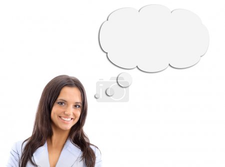 Woman and Blank Thought Bubbles with Clipping Path Isolated on a White Bac